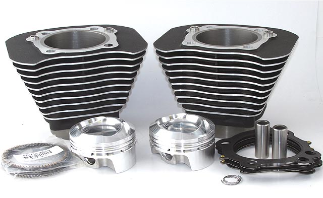 Hammer Performance 1250 Kit for 2004-Present Sportster Black with Highlighted Fins and 30 Degree Reverse Dome Sledge Hammer Pistons