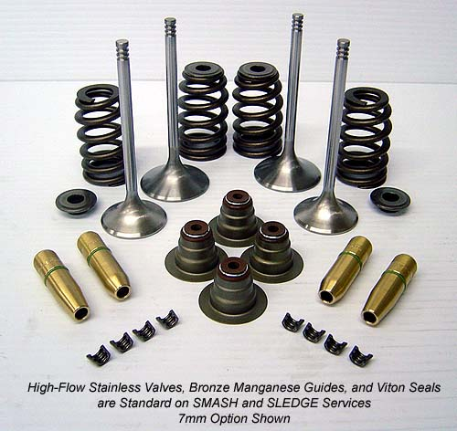 High Performance Valves, Springs, Retainers, Locks, and Guides for a Harley Davidson Cylinder Head