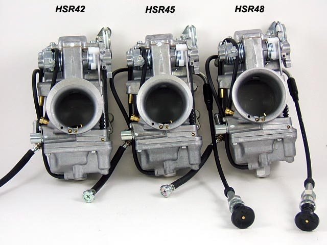 Mikuni HSR42, HSR45, and HSR48 Carburetors Side by Side